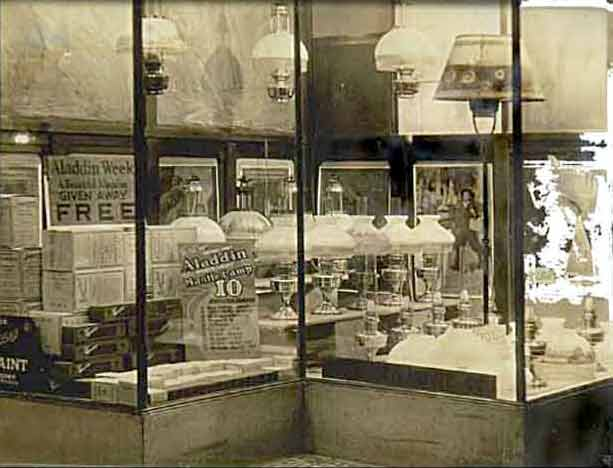 Photo of Store Window Display of Aladdin Model 12 Lamps; Circa 1929