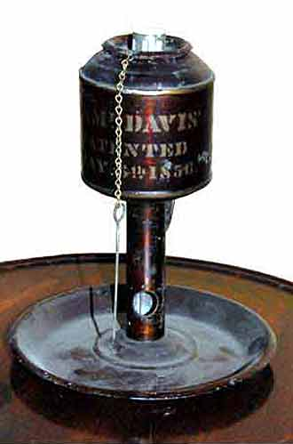 Photo of Samuel Davis lard lamp May 6, 1856 patent