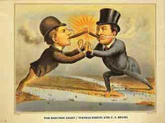 Photo of Cartoon Depicting Competition Between Edison and Brush