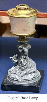 Photo of Figural Base Kerosene Table Lamp Ca. 1870
